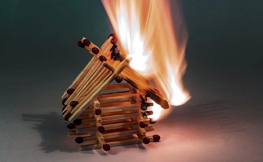 Matchstick house on fire